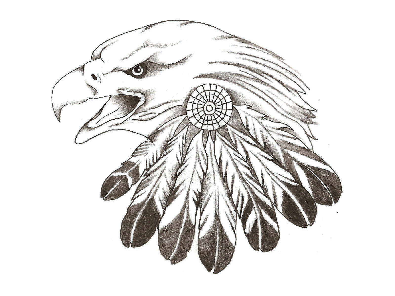 Native american eagle with feather decoration tattoo design