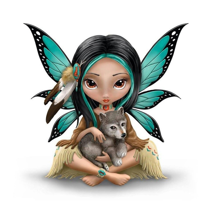 Native american fairy with a little wolf baby tattoo design