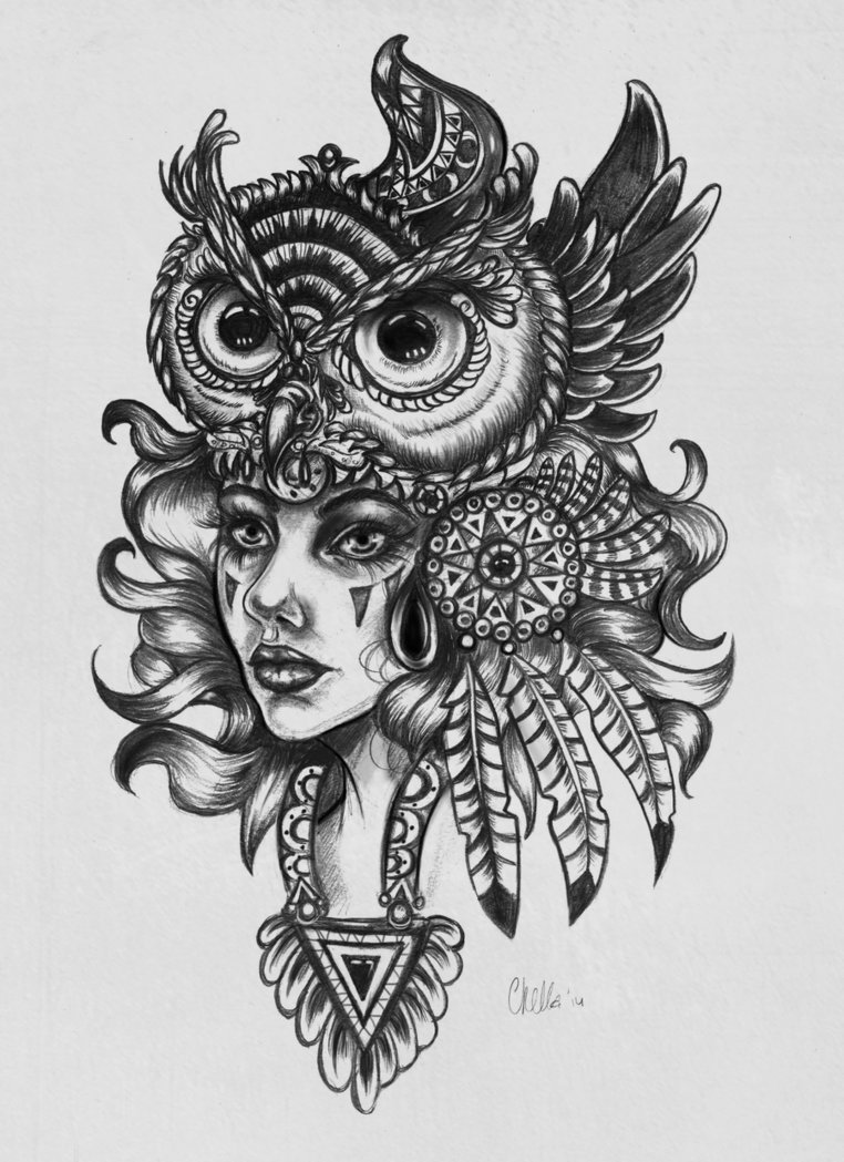 Native American Girl In Owl Hat Tattoo Design By Veavictis