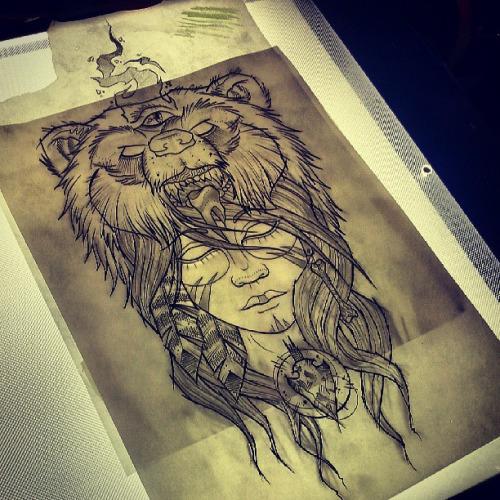 Native American Girl With Bear On Head Tattoo Design Tattooimagesbiz