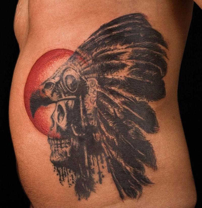 Native american skull tattoo on side