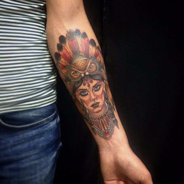Native american woman tattoo in traditional style