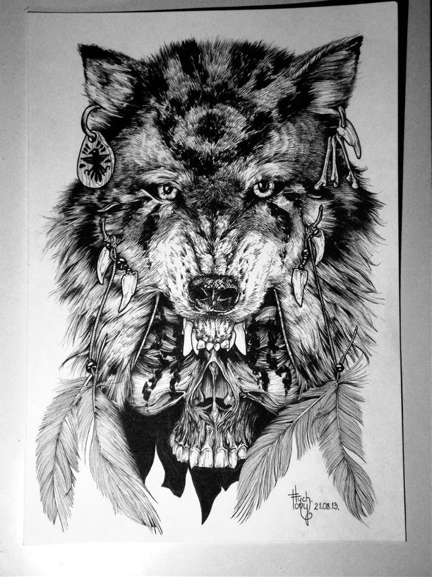 native black and white wolf over skull tattoo design. Black Bedroom Furniture Sets. Home Design Ideas