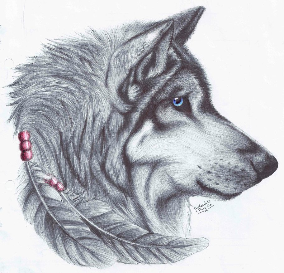 Native blue-eyed wolf portrait in profile with feathers tattoo design