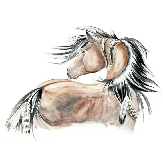 native horse with feathers tattoo design. Black Bedroom Furniture Sets. Home Design Ideas