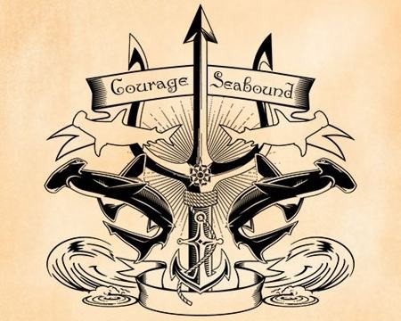 Navy sharp trident with black reflected hummer sharks tattoo design