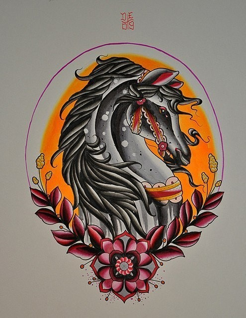 Neo traditiona grey horse portrait in floral frame tattoo design