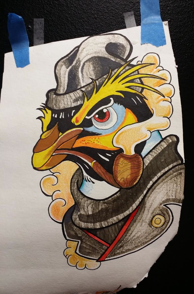 Neo traditional colored penguin with fluffy brows and pipe tattoo design by Mattparker Tattoo