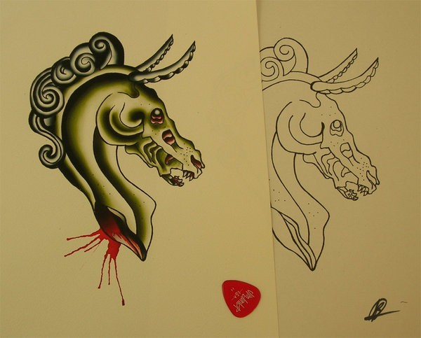 Neo traditional green horned horse skull tattoo design by Bern Z