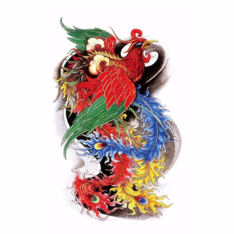 Neo traditional multicolor phoenix on dark background tattoo design