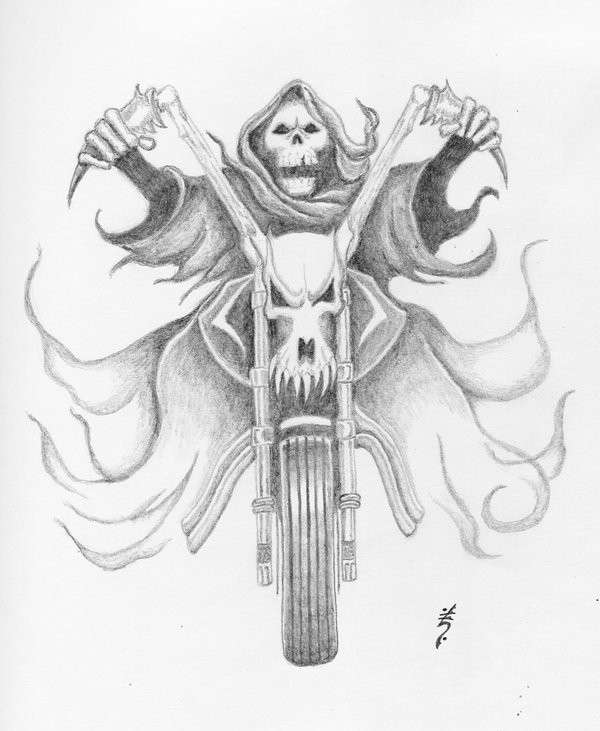 Nesty pencilwork death on a bike tattoo design by Dethzen