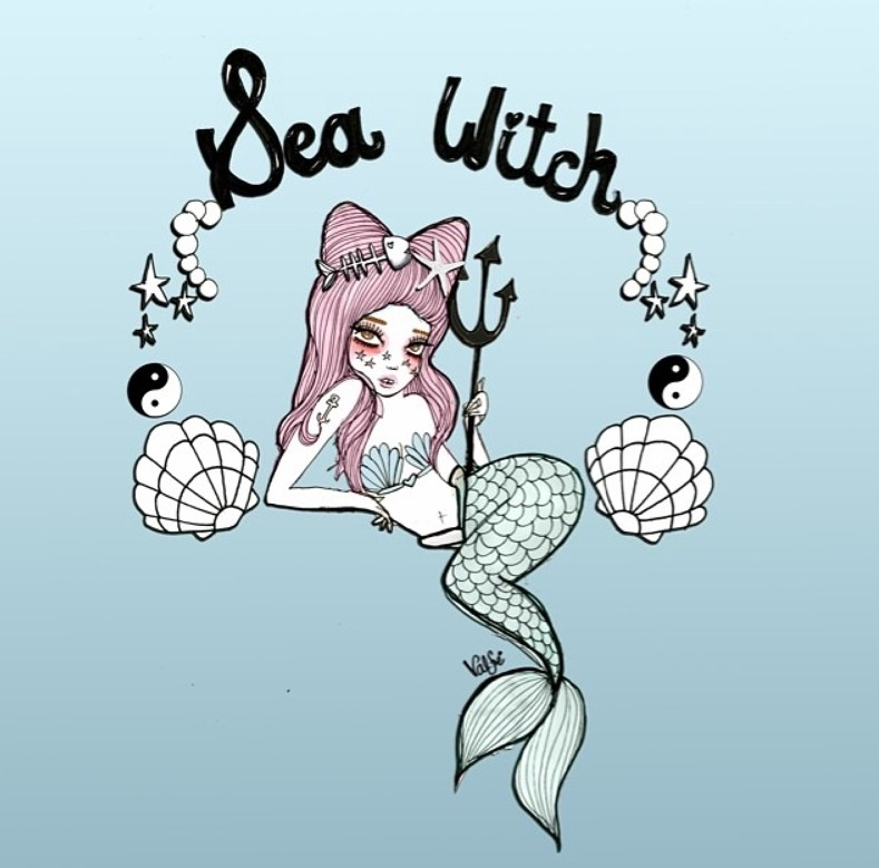 Nesty pink-haired mermaid with small trident and lettering tattoo design