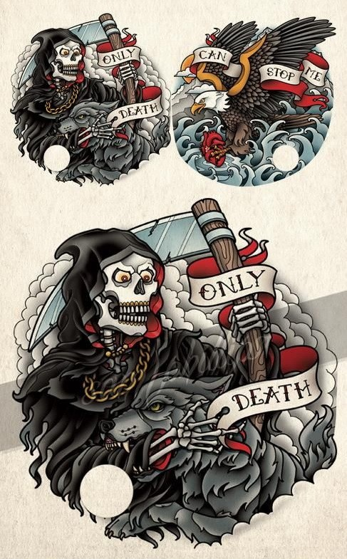 New colorful death fighting with a werewolf tattoo design