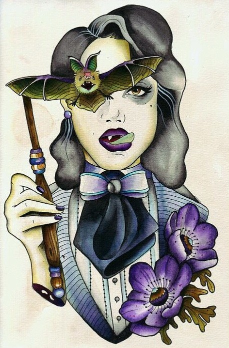 New colorful vampire woman with bat mask and purple flowers tattoo design