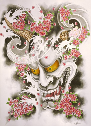 New japanese orange-eyed devil and cherry blossom tattoo design