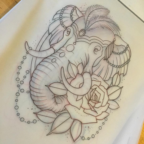 New school circus elephant head and a rose tattoo design