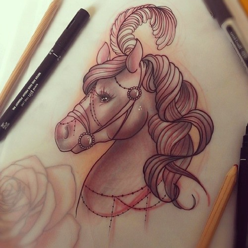 New school circus horse with feather decoration tattoo design