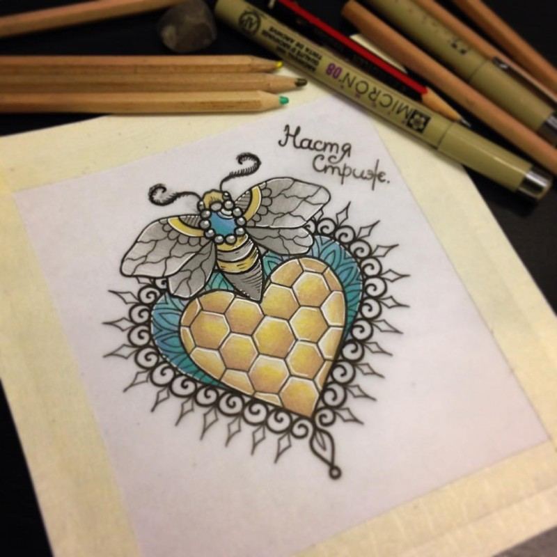 New school colorful decorated bee and sweet honeycomb heart tattoo design