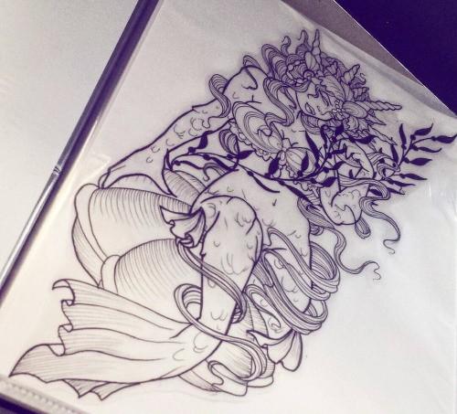 New school crowned mermaid curled in seaweeds tattoo design