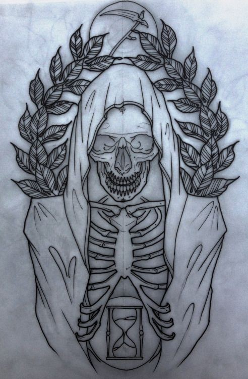 New school death skeleton with a tiny hourglass and laurel branches tattoo design