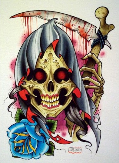 New school death with a blue rose bud and bloody scythe tattoo design