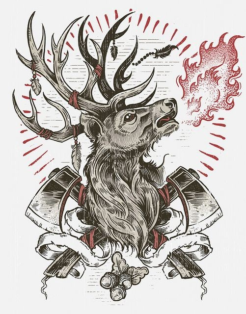 New school deer breathing with fire and crossed axes tattoo design