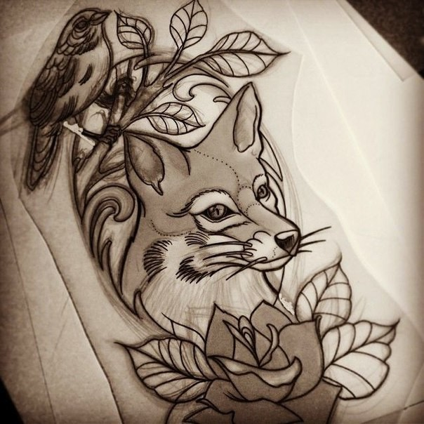 New School Fox With Rose And Bird Sitting On Branch Tattoo