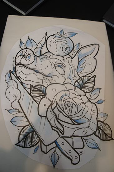 New school pig head with sharp knife and huge rose tattoo design