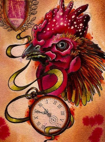 New school rooster keeping a clock in a beak tattoo design
