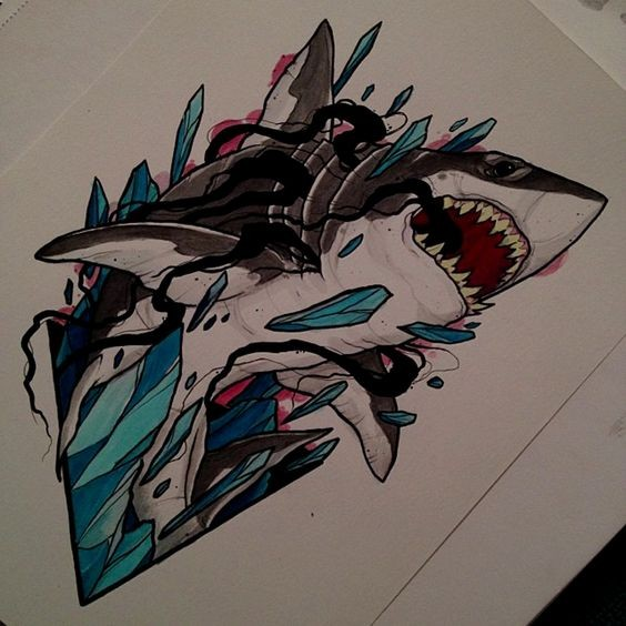 new school shark in broken crystals tattoo design. Black Bedroom Furniture Sets. Home Design Ideas