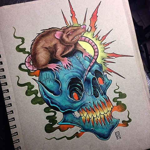 New school skull and mouse with shining sun tattoo design