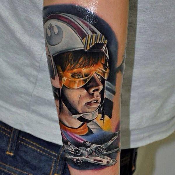 New school style detailed painted Luke Skywaler portrait tattoo on arm