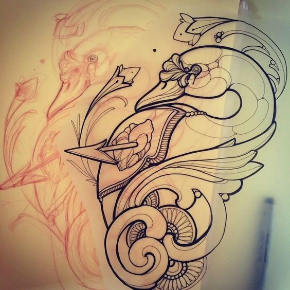 New school uncolored swan with curl decorations pierced wuth arrow tattoo design