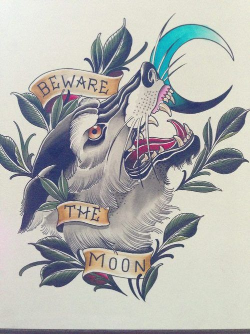 New school wolf head with quoted stripes and blue moon tattoo design