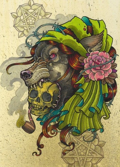 New school wolf in gypsy bandana with a skull in teeth tattoo design