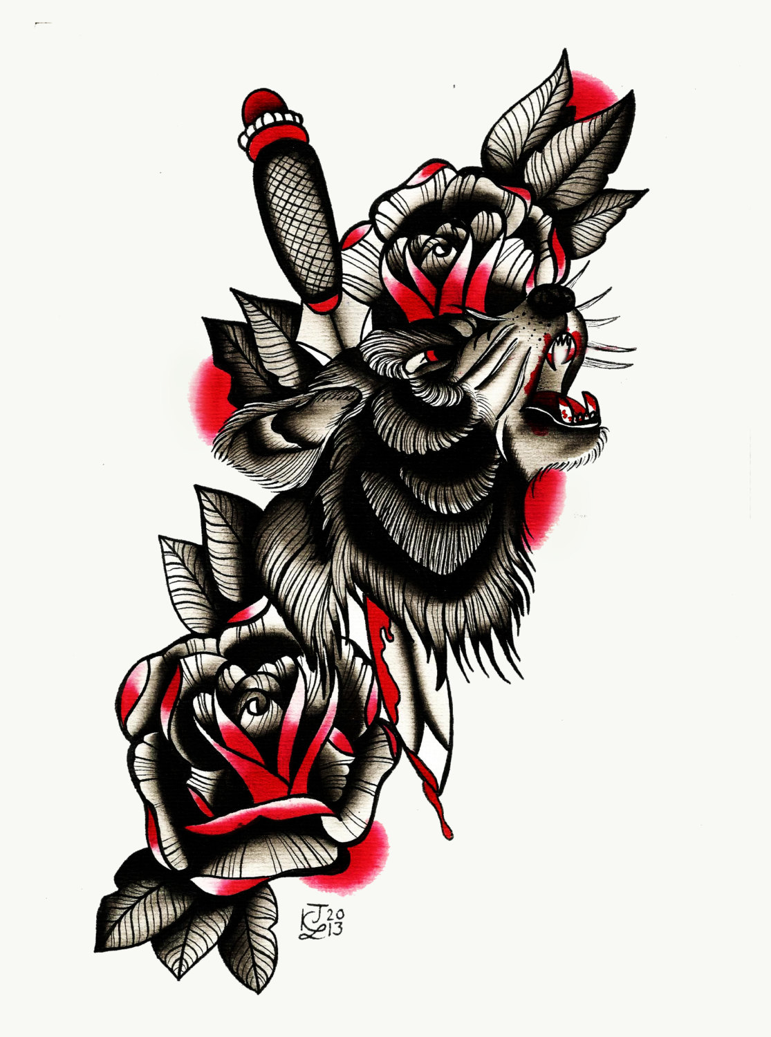 New school wolf pierced with a dagger and blooded roses tattoo design