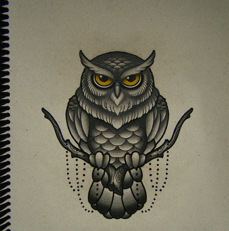 New school yellow-eyed owl sitting on tree branch tattoo design by Frah