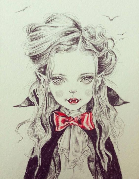 Nice black-and-grey vampire girl portrait with a tiny red tie-bow tattoo design