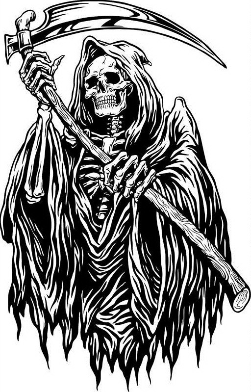 Nice black-and-white death with a heavy scythe tattoo design