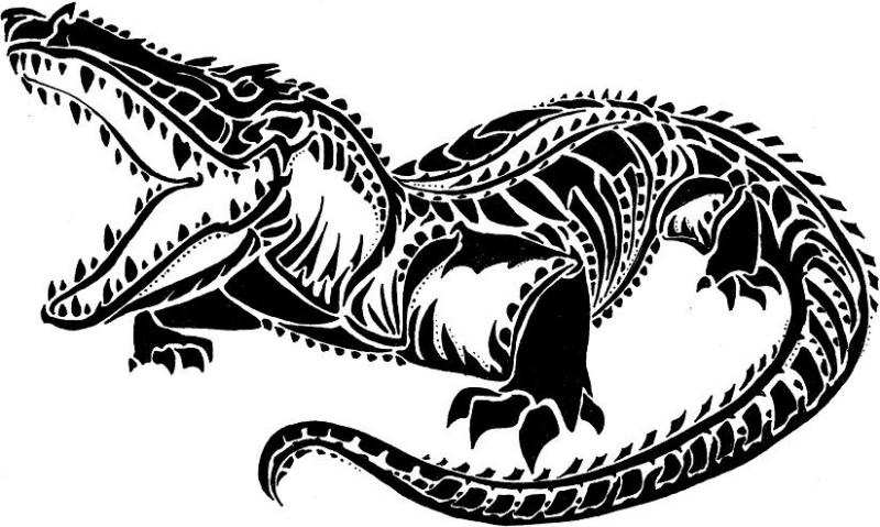 Nice black-color tribal reptile tattoo design by Morgan King