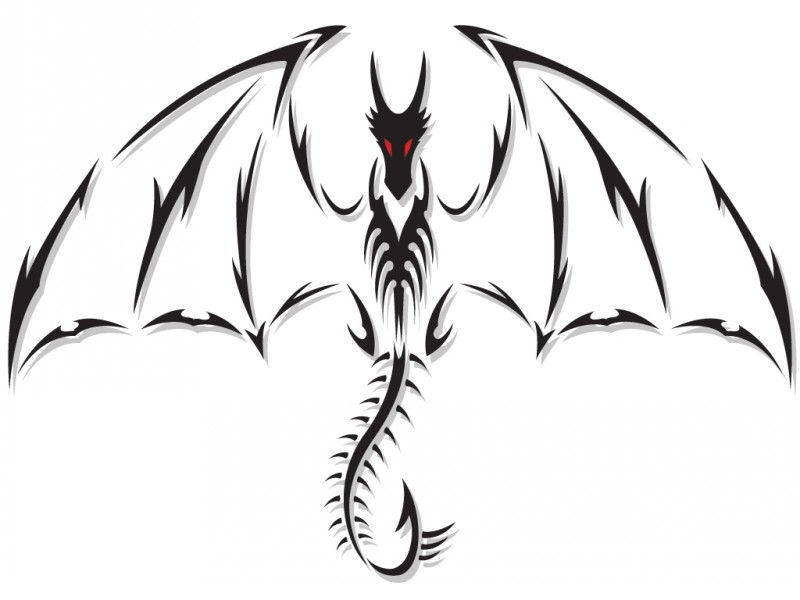 Nice black-contoured red-eyed dragon tattoo design