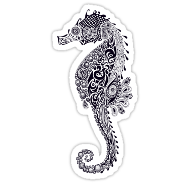 Nice black-ink beautiful-patterned seahorse tattoo design
