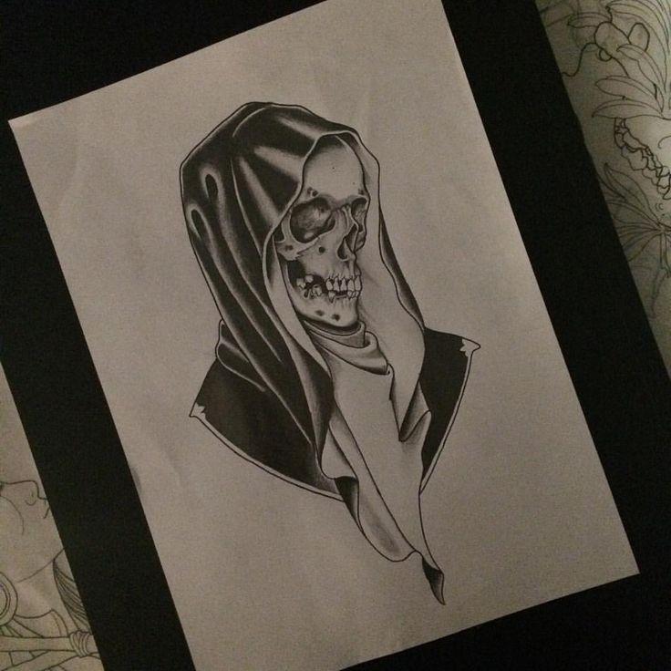 Nice black-ink death portrait tattoo design