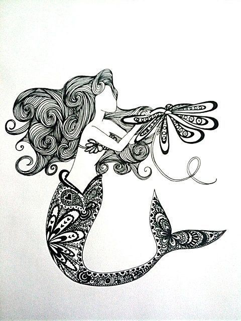 Nice black-ink mermaid with floral-patterned tail tattoo design