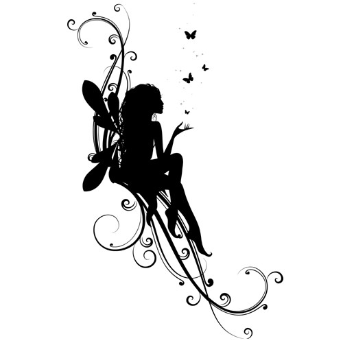nice black fairy silhouette with flying butterflies tattoo design. Black Bedroom Furniture Sets. Home Design Ideas