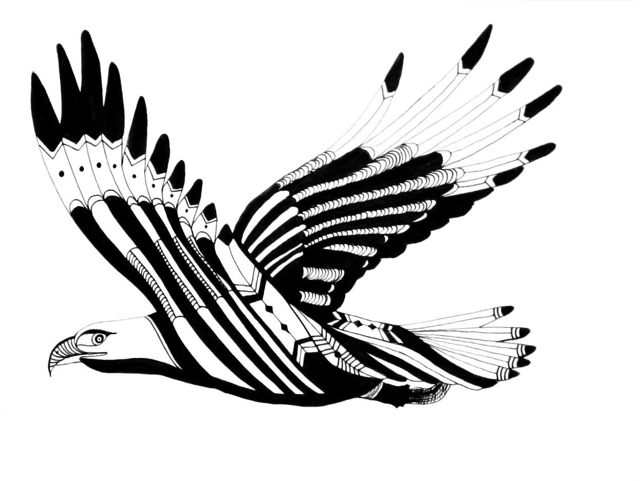 Nice black flying eagle tattoo design