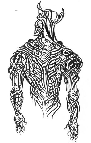 Nice black tribal demon from back tattoo design