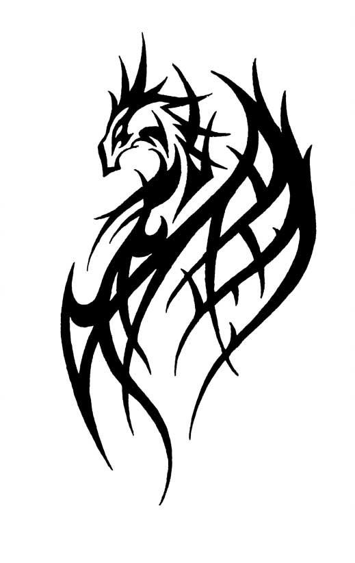 Nice black tribal dragon tattoo design by Primitive Art