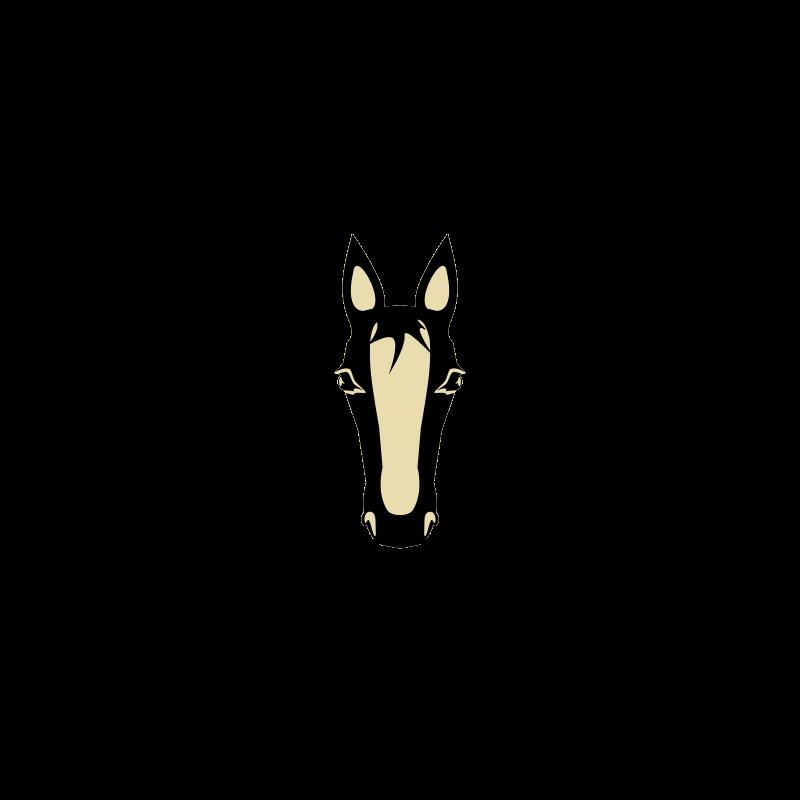 Nice brown pegasus head with black wings tattoo design