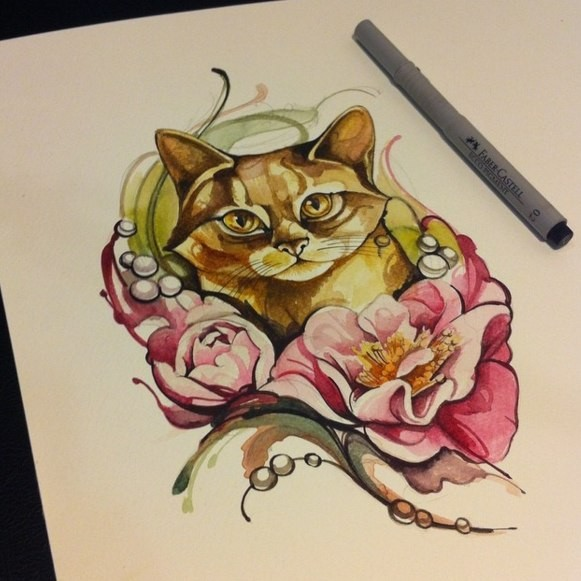 Nice colored domestic animal and peony flower tattoo design